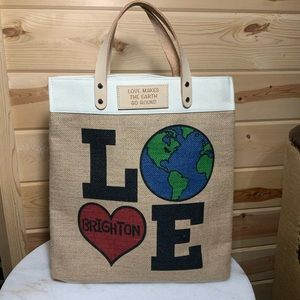 Brighton Earth Day Burlap Tote 15X13X6 NWOT